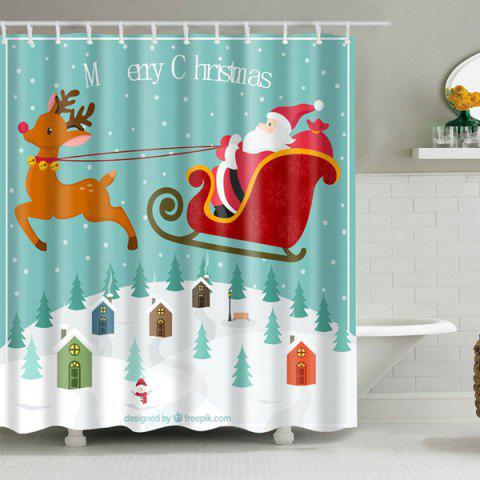 Chic Waterproof Christmas Santa Elk Polyester Shower Curtain COLORMIX L