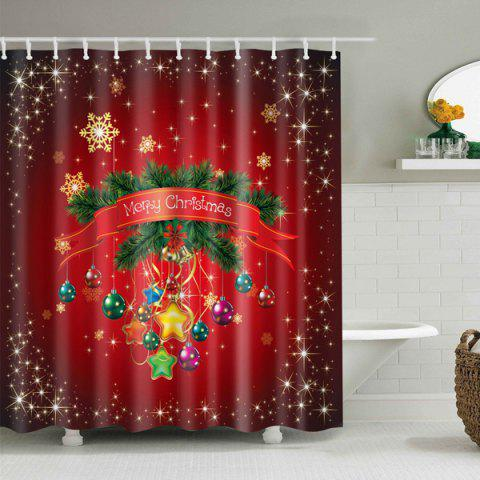 Trendy Waterproof Merry Christmas Polyester Bath Shower Curtain - M BRIGHT RED Mobile