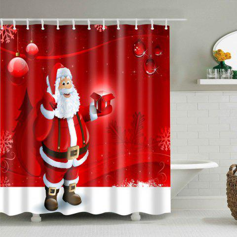 Online Christmas Santa Printed Bath Waterproof Shower Curtain - M RED Mobile