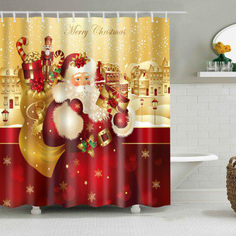 Affordable Santa Printed Bath Decor Waterproof Christmas Shower Curtain - L YELLOW AND RED Mobile