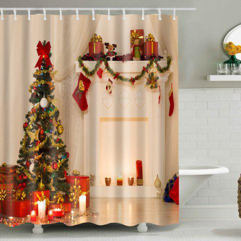 Online Xmas Tree Fabric Waterproof Bath Christmas Shower Curtain - S APRICOT Mobile
