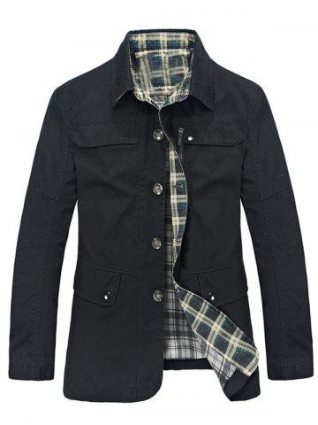 Online Plaid Lining Pocket Button Up Jacket BLACK 3XL