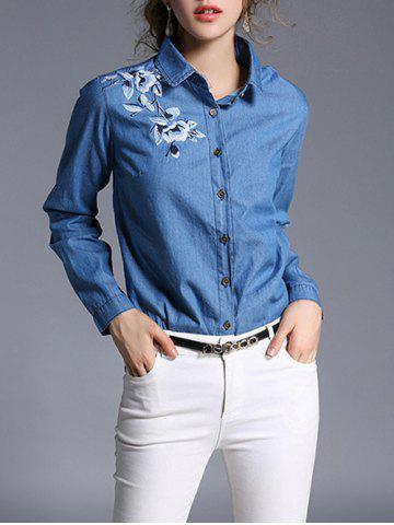 Denim and Flower Embroidery Formal Shirt - Denim Blue - M