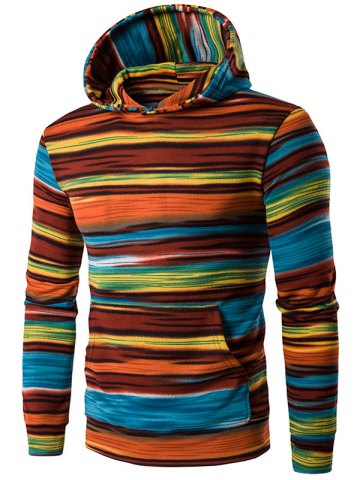 Outfit Hooded Color Block Stripe Pullover Hoodies - XL ORANGE Mobile