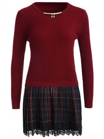 Sale Chain Checked Layered Sweater Skater Dress WINE RED ONE SIZE