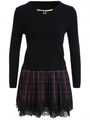 Chain Checked Layered Sweater Skater Dress - Black - One Size