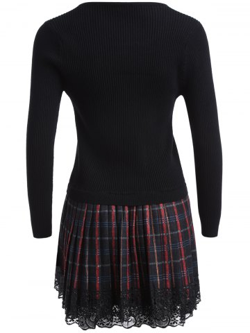 Discount Chain Checked Layered Sweater Skater Dress - ONE SIZE BLACK Mobile