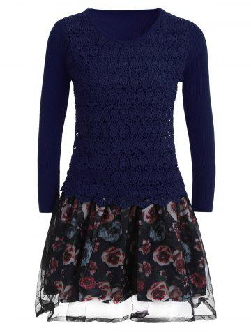 Cheap Organza Spliced Floral Layered Sweater Skater Dress BLUE ONE SIZE