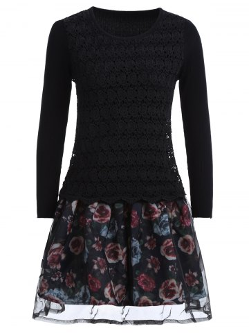 Organza Spliced Floral Layered Sweater Skater Dress - Black - One Size