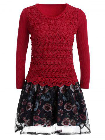 Organza Spliced Floral Layered Sweater Skater Dress - Red - One Size