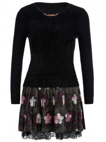 Discount Floral Printed Fuzzy Sweater Dress