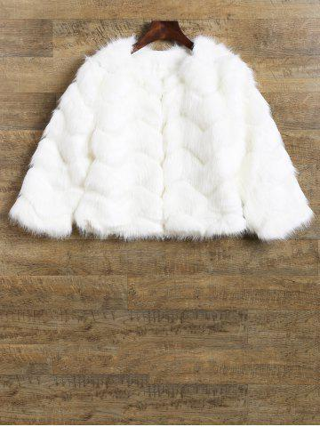 New Waved Pattern Cropped Faux Fur Coat
