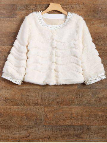 Chic Waved Banded Beaded Trim Faux Fur Coat