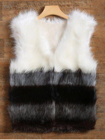 Outfits Slimming Fit Color Block Panel Faux Fur Vest
