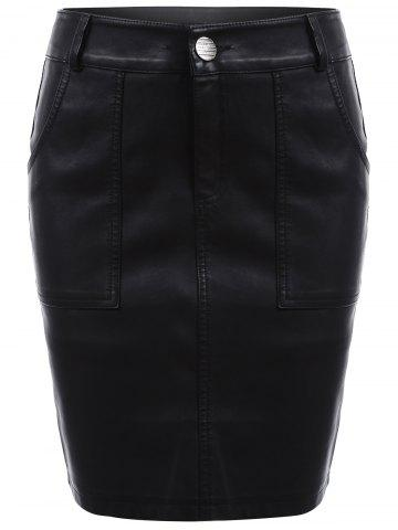 Sale Streetwear Faux Leather Pencil Skirt