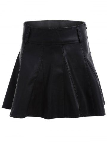 Fashion High Waisted Faux Leather Skater Skirt