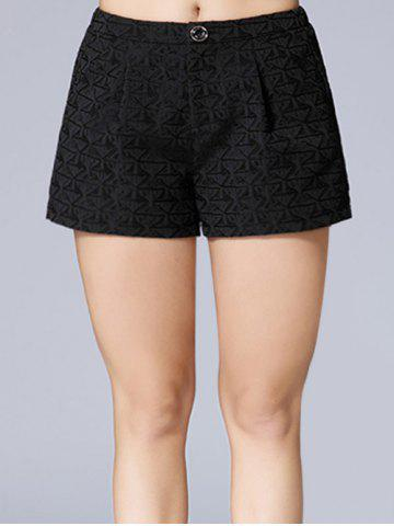 Outfits Triangle Jacquard Button Plus Size Shorts