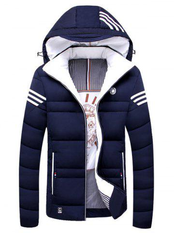 Unique Detachable Hooded Zip Up Stripe Print Down Jacket