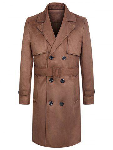 Turndown Collar Lengthen Belt Design Double Breasted Suede Coat - CAMEL 3XL