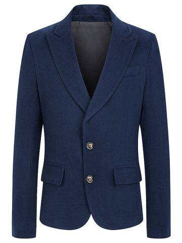 Hot Turndown Collar Single Breasted Woolen Coat ROYAL 2XL