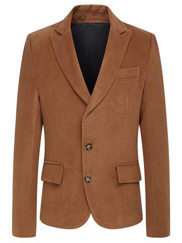Turndown Collar Single Breasted Woolen Coat - Camel - L