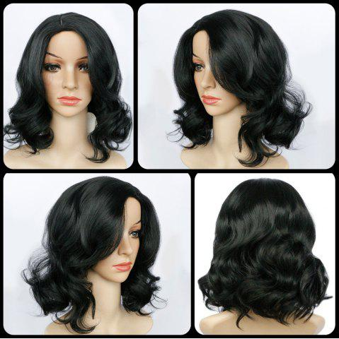 Chic Short Side Parting Wavy Synthetic Wig BLACK
