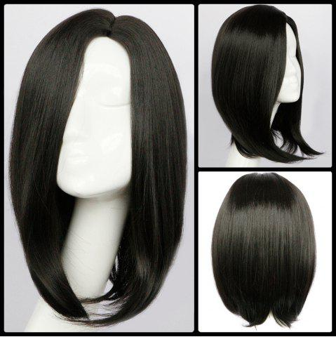 Discount Medium Side Parting Straight Synthetic Wig BLACK