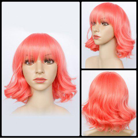 Fancy Bright-Coloured Short Neat Bang Wavy Synthetic Wig HOT PINK