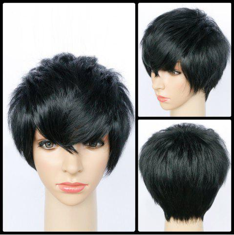 Best Spiffy Ultrashort Side Bang Straight Synthetic Wig