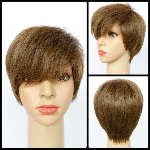 Affordable Spiffy Mixed Color Ultrashort Side Bang Straight Synthetic Wig