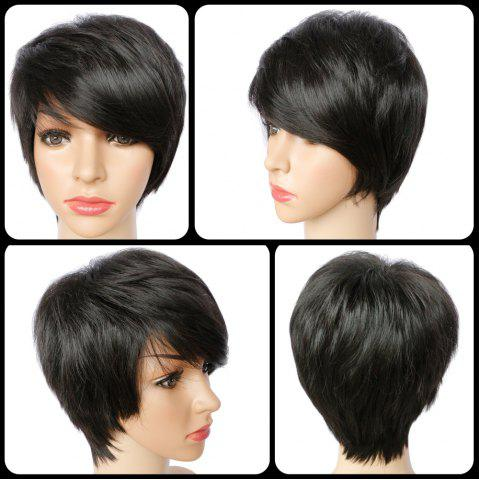 Discount Spiffy Short Pixie Cut Synthetic Straight Side Bang Capless Wig BLACK