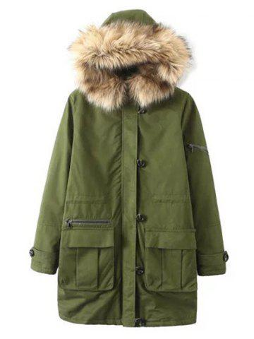 Trendy Fur Hooded Pockets Cargo Coat