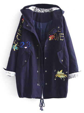 Outfits Hooded Letter Embroidered Sequins Coat DEEP BLUE L