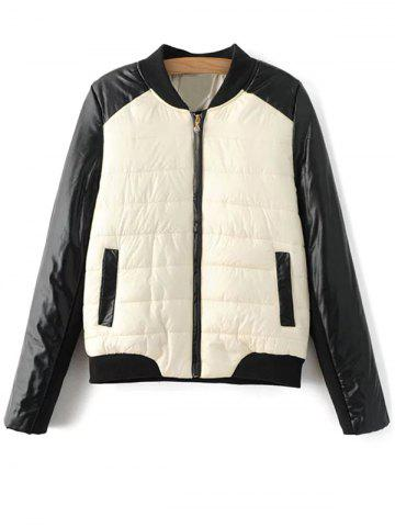 Trendy PU Leather Panel Color Block Padded Coat