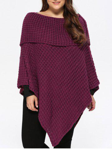 Best Plus Size Knitted Asymmetric Chunky Cape - ONE SIZE PURPLISH RED Mobile
