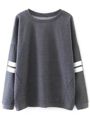 Sports Striped Loose Sweatshirt - Gray - M