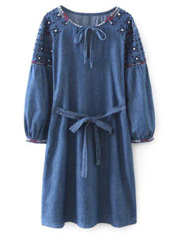 Latest Embroidered Belted Vintage Dress BLUE L