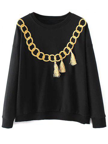 Outfits Fringed Embroidered Loose Sweatshirt - L BLACK Mobile