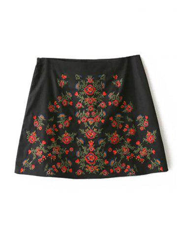 Trendy A-Line Floral Embroidered Skirt BLACK L