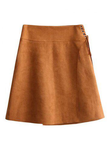 Trendy Faux Suede Lace-Up A-Line Skirt BROWN L
