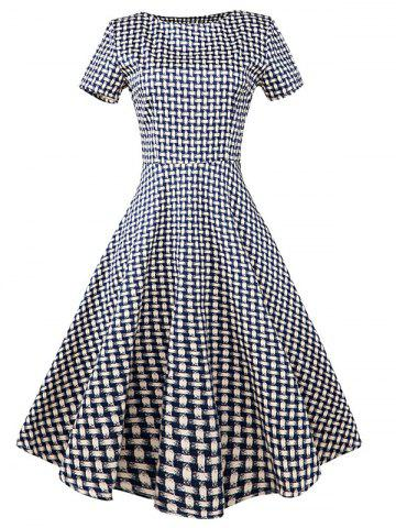 Sale Vintage Slim Fit Plaid Swing Dress