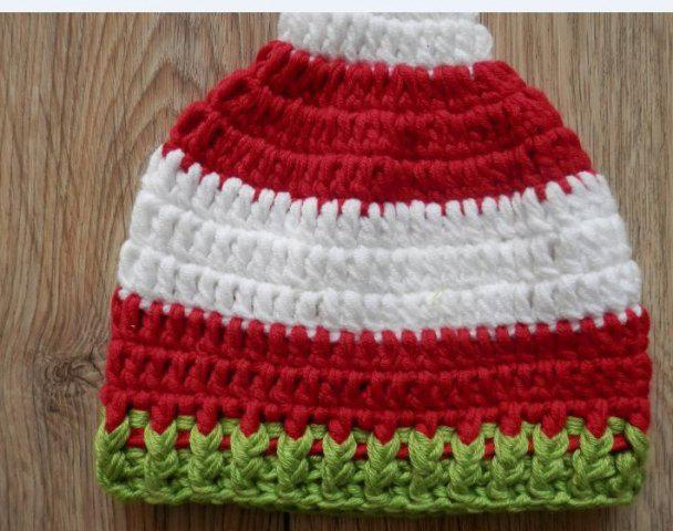 Hot Newborn Baby Photography Prop Crochet Long Pom Ball Hat - S RED STRIPE Mobile