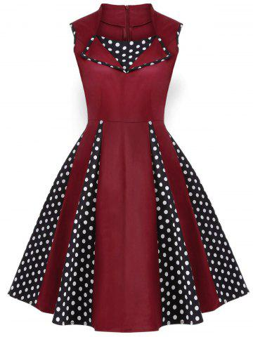 Shops Vintage Polka Dot Sleeveless Knee Length Swing Dress BURGUNDY M