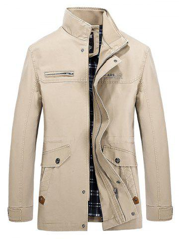 Multi Pocket Stand Collar Zippered Jacket