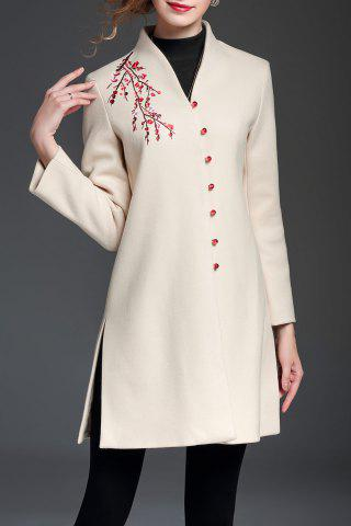 Affordable Embroidered V Neck A Line Coat OFF-WHITE XL