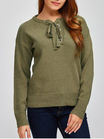 Lace-Up lâche Pull Casual Vert Armée TAILLE MOYENNE