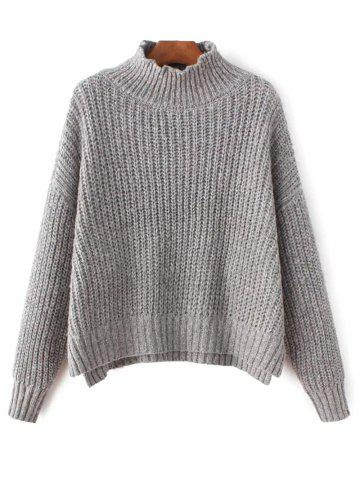 Shops Mock Neck High-Low Chunky Sweater