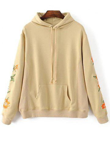 Buy Big Pocket Floral Embroidered Hoodie
