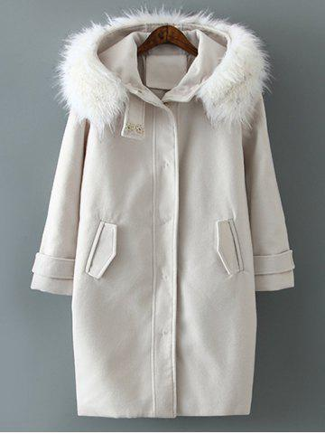 Latest Woolen Blend Fur Hooded Coat