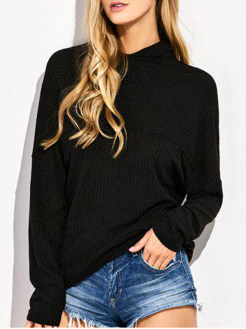 Shop High Neck Batwing Sweater BLACK XL
